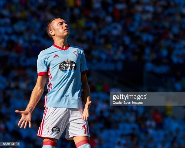 Iago Aspas of Celta de Vigo reacts during the La Liga match between Celta de Vigo and Real Sociedad at Balaidos Stadium on August 19 2017 in Vigo...