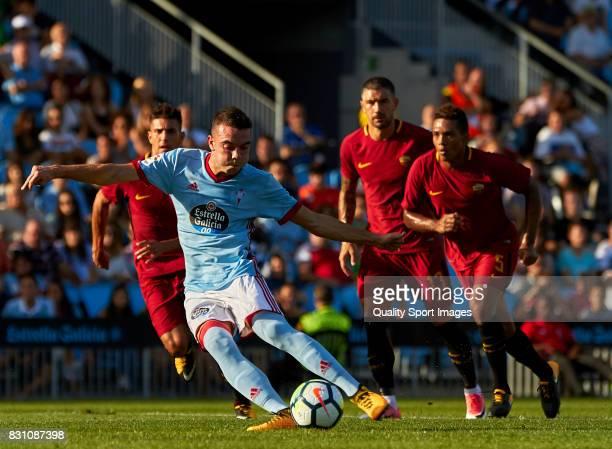 Iago Aspas of Celta de Vigo shoots a penalty and scores the opening goal during the preseason friendly match between Celta de Vigo and AS Roma at...