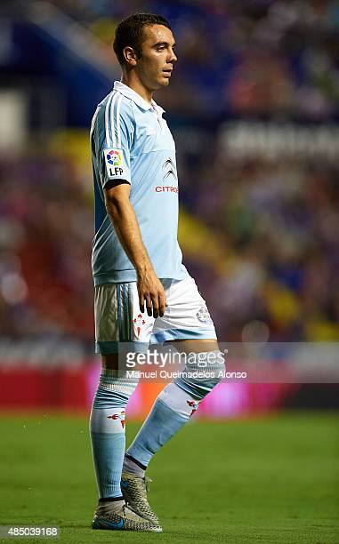 Iago Aspas of Celta looks looks on during the La Liga match between Levante UD and Real Club Celta de Vigo at Ciutat de Valencia Stadium on August 23...