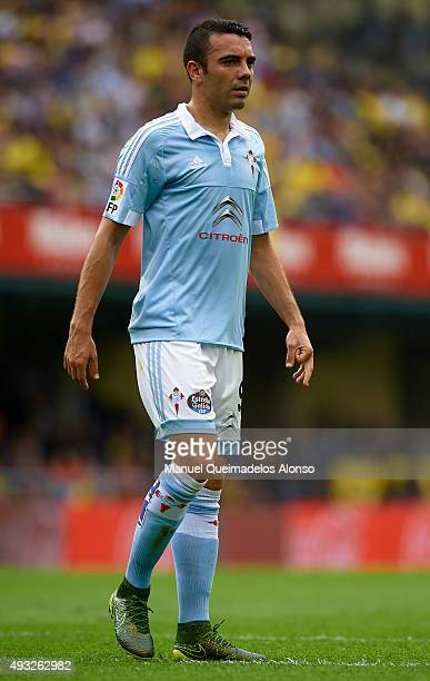 Iago Aspas of Celta looks on during the La Liga match between Villarreal CF and RC Celta de Vigo at El Madrigal Stadium on October 18 2015 in...