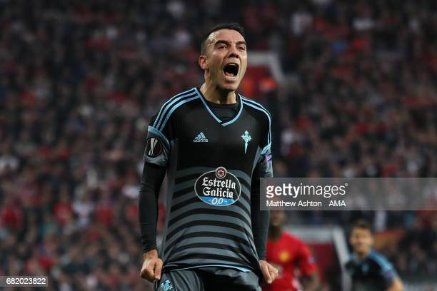 Iago Aspas of Celta Vigo shows his frustration during the UEFA Europa League semi final second leg match between Manchester United and Celta Vigo at...
