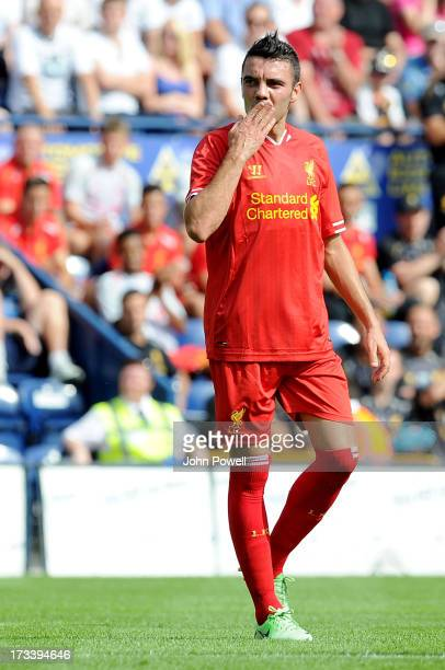 Iago Aspas of Liverpool celebrates after scoring the fourth goal during the Preston North End and Liverpool pre season friendly at Deepdale on July...