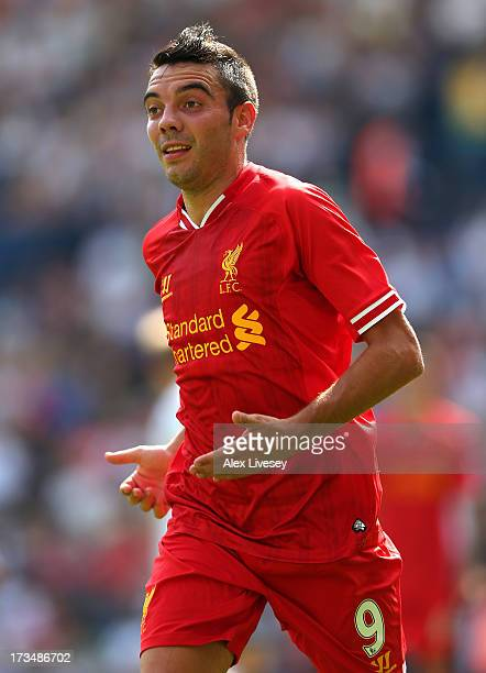Iago Aspas of Liverpool during the Pre Season Friendly match between Preston North End and Liverpool at Deepdale on July 13 2013 in Preston Lancashire