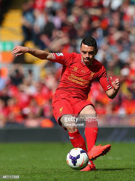 Iago Aspas of Liverpool in action during the Barclays Premier League match between Liverpool and Chelsea at Anfield on April 27 2014 in Liverpool...