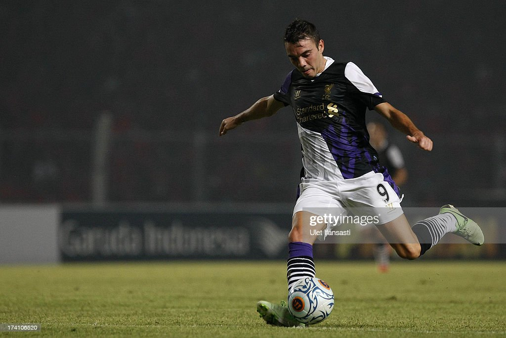 Iago Aspas of Liverpool in action during the match between the Indonesia XI and Liverpool FC on July 20, 2013 in Jakarta, Indonesia.