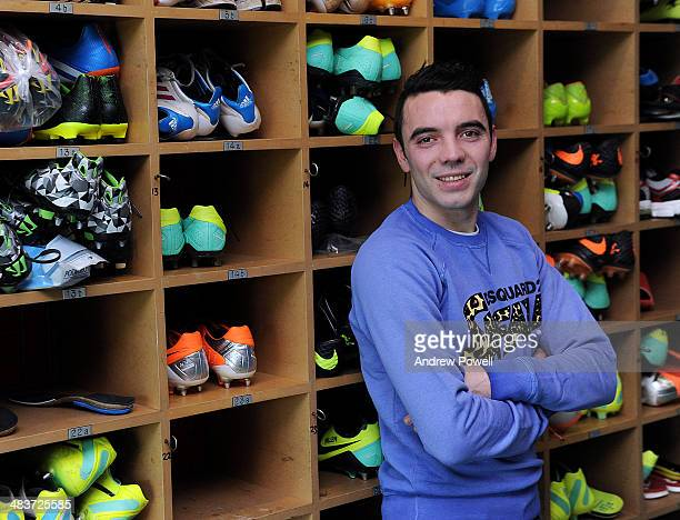 Iago Aspas of Liverpool poses for a portrait at Melwood Training Ground in Liverpool England