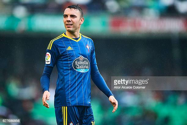 Iago Aspas of RC Celta de Vigo looks on during La Liga match between Real Betis Balompie an RC Celta de Vigo at Benito Villamarin Stadium on December...