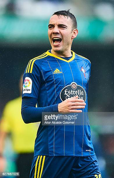 Iago Aspas of RC Celta de Vigo looks on during the La Liga match between Real Betis Balompie an RC Celta de Vigo at Benito Villamarin Stadium on...