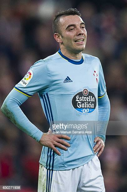 Iago Aspas of RC Celta de Vigo reacts during the La Liga match between Athletic Club Bilbao and RC Celta de Vigo at San Mames Stadium on December 19...
