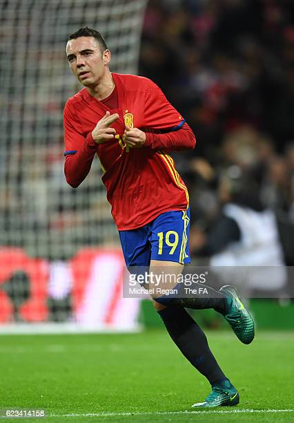 Iago Aspas of Spain celebrates after scoring his sides first goal during the international friendly match between England and Spain at Wembley...