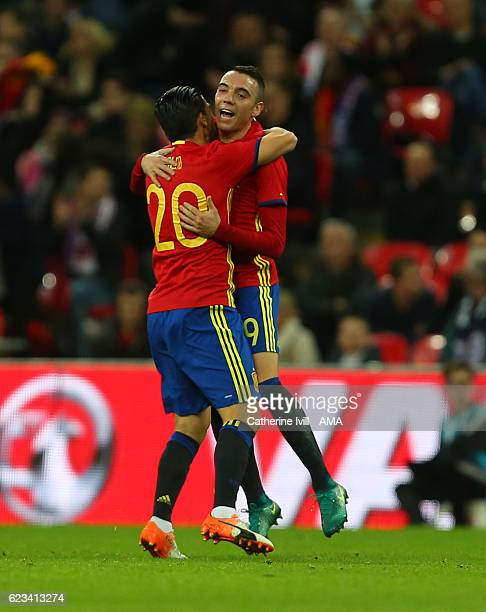 Iago Aspas of Spain celebrates after scoring to make it 21 during the International Friendly match between England and Spain at Wembley Stadium on...
