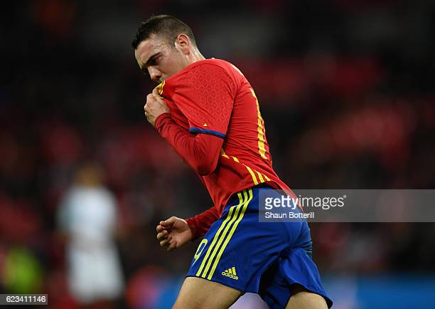 Iago Aspas of Spain celebrates as he scores their first goal during the international friendly match between England and Spain at Wembley Stadium on...