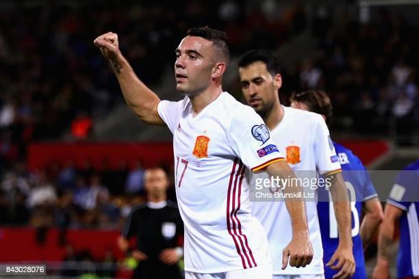 Iago Aspas of Spain celebrates scoring his sides seventh goal during the FIFA 2018 World Cup Qualifier between Liechtenstein and Spain at Rheinpark...