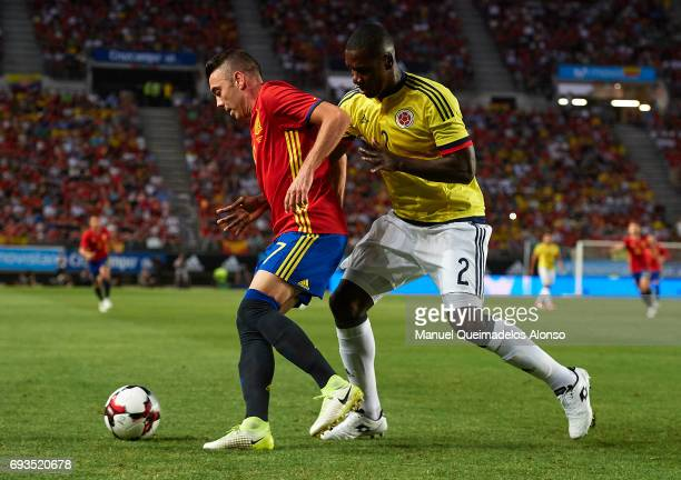 Iago Aspas of Spain competes for the ball with Cristian Zapata of Colombia during the international friendly match between Spain and Colombia at...