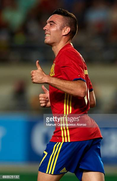 Iago Aspas of Spain reacts during the international friendly match between Spain and Colombia at Nueva Condomina Stadium on June 7 2017 in Murcia...