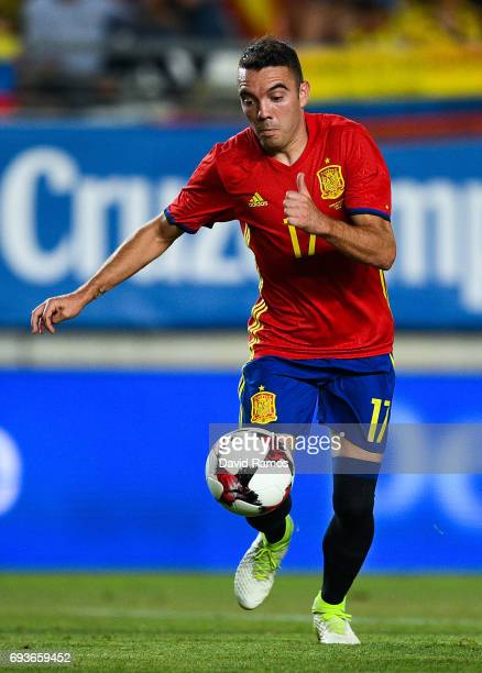 Iago Aspas of Spain runs with the ball during a friendly match between Spain and Colombia at La Nueva Condomina stadium on June 7 2017 in Murcia Spain