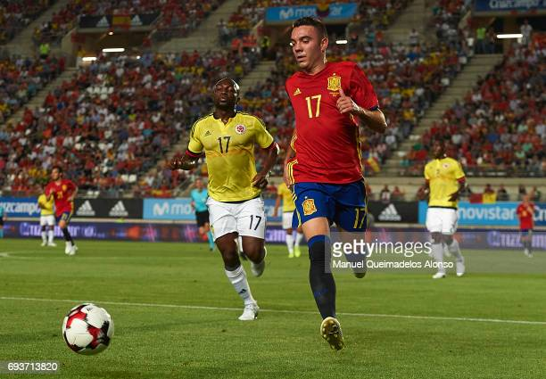 Iago Aspas of Spain runs with the ball during the international friendly match between Spain and Colombia at Nueva Condomina Stadium on June 7 2017...