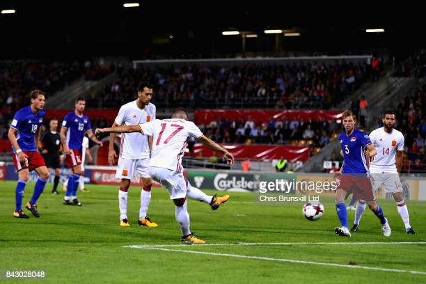 Iago Aspas of Spain scores his sides seventh goal during the FIFA 2018 World Cup Qualifier between Liechtenstein and Spain at Rheinpark Stadion on...