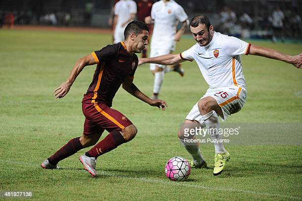 Iago Falque and Vasileios Torosidis of AS Roma compete for the ball during the international friendly match between AS Roma A and AS Roma B at Gelora...