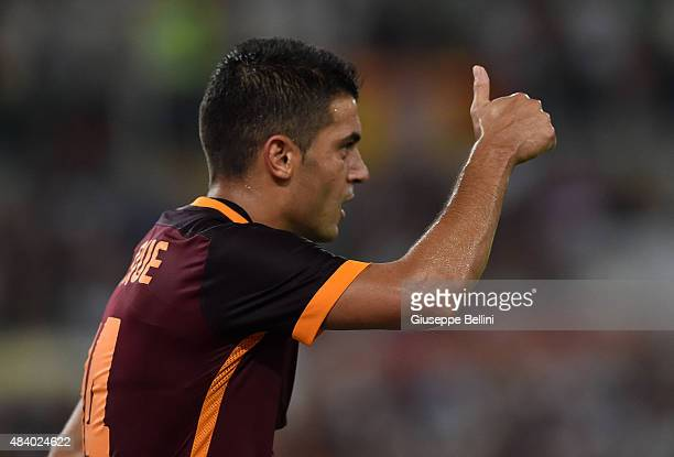 Iago Falque of AS Roma in action during the preseason friendly match between AS Roma and Sevilla FC at Olimpico Stadium on August 14 2015 in Rome...