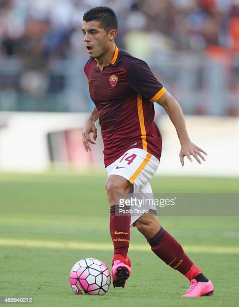 Iago Falque of AS Roma in action during the Serie A match between AS Roma and Juventus FC at Stadio Olimpico on August 30 2015 in Rome Italy