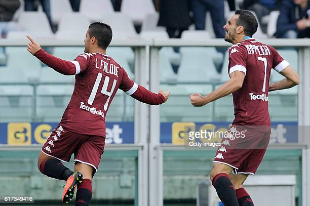 Iago Falque of FC Torino celebrates a goal during the Serie A match between FC Torino and SS Lazio at Stadio Olimpico di Torino on October 23 2016 in...
