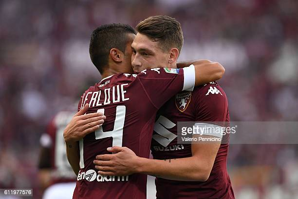 Iago Falque of FC Torino celebrates after scoring the opening goal with team mate Andrea Belotti during the Serie A match between FC Torino and ACF...
