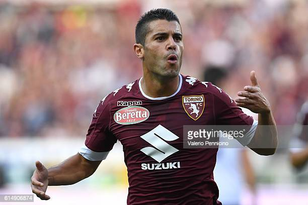 Iago Falque of FC Torino celebrates after scoring the opening goal during the Serie A match between FC Torino and ACF Fiorentina at Stadio Olimpico...
