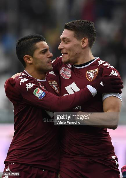 Iago Falque of FC Torino celebrates with tam mate Andrea Belotti after scoring the opening goal during the Serie A match between FC Torino and...