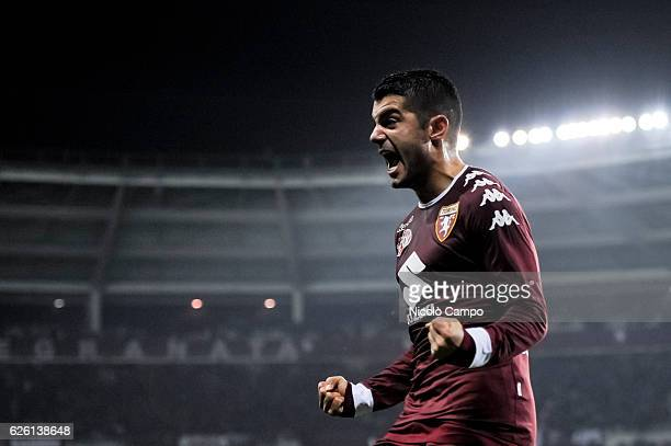 Iago Falque of Torino FC celebrates after scoring his second goal during the Serie A football match between Torino FC and AC ChievoVerona Torino FC...