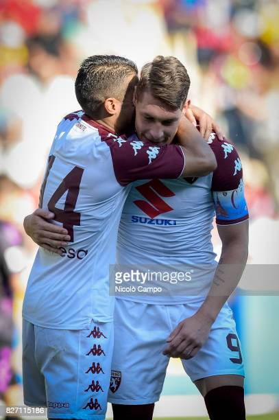 Iago Falque of Torino FC celebrates with Andrea Belotti ater scoring a goal during the preseason friendly football match between SC Freiburg and...