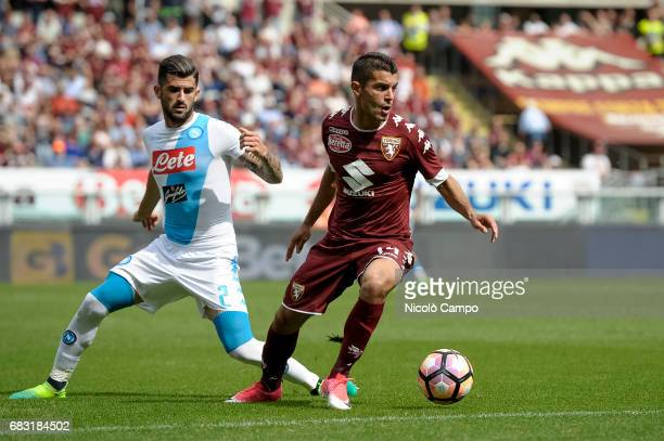 Iago Falque of Torino FC competes with Elseid Hysaj of SSC Napoli during the Serie A football match between Torino FC and SSC Napoli SSC Napoli wins...
