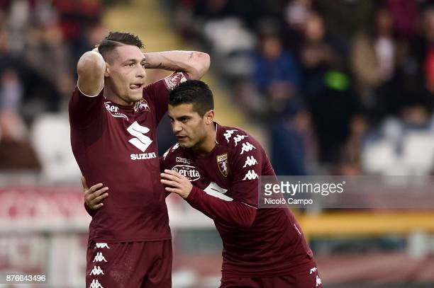 Iago Falque of Torino FC consoles Andrea Belotti during the Serie A football match between Torino FC and AC ChievoVerona The match ended in a 11 tie