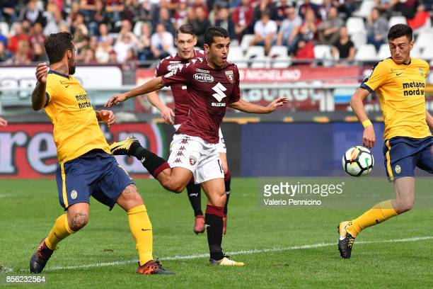 Iago Falque of Torino FC scores the opening goal during the Serie A match between Torino FC and Hellas Verona FC at Stadio Olimpico di Torino on...