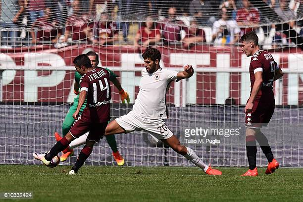 Iago Falque of Torino scores his second goal during the Serie A match between FC Torino and AS Roma at Stadio Olimpico di Torino on September 25 2016...