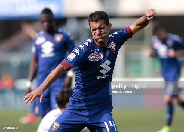 Iago Falque Silva of Torino FC celebrates his goal during the Serie A match between AC ChievoVerona and FC Torino at Stadio Marc'Antonio Bentegodi on...