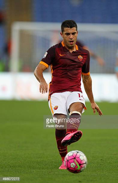 Iago Falqueof AS Roma in action during the Serie A match between AS Roma and Empoli FC at Stadio Olimpico on October 17 2015 in Rome Italy