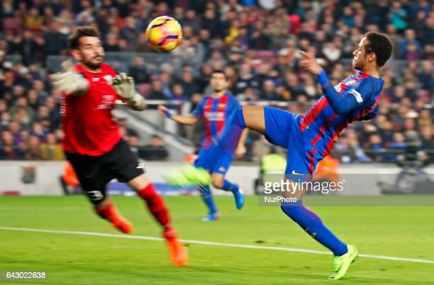 Iago Herrerin and Neymar Jr during La Liga match between FC Barcelona v CD Leganes in Barcelona on February 19 2017