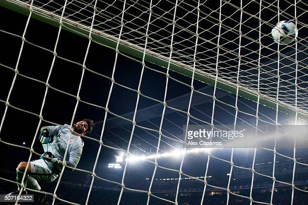 Iago Herrerin of Athletic Club clears the ball during the Copa del Rey Quarter Final Second Leg between FC Barcelona and Athletic Club at Camp Nou...