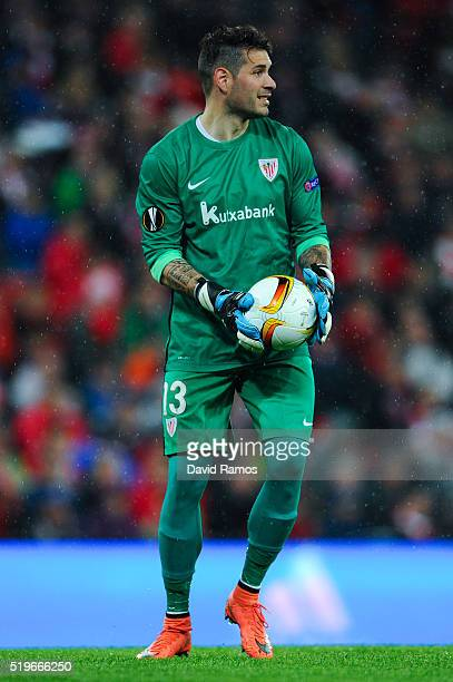 Iago Herrerin of Athletic Club in action runs with the ball during the UEFA Europa League quarter final first leg match between Athletic Bilbao and...
