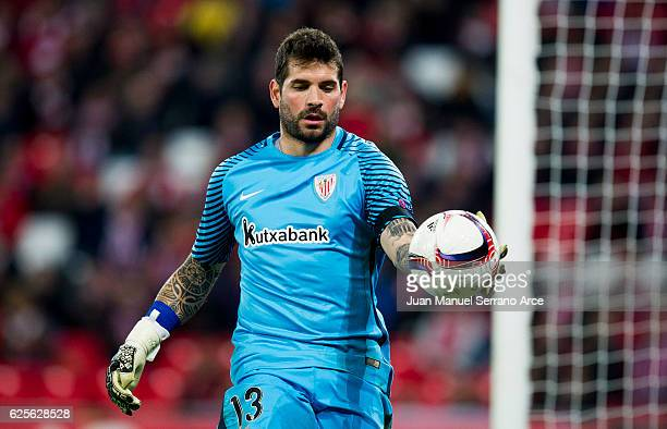 Iago Herrerin of Athletic Club reacts during the UEFA Europa League group F match between Athletic Club and US Sassuolo Calcio at the Estadio de San...