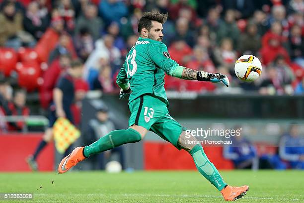 Iago Herrerin of Bilbao in action during the UEFA Europa League Football round of 32 second leg match between Athletic Bilbao and Olympique de...