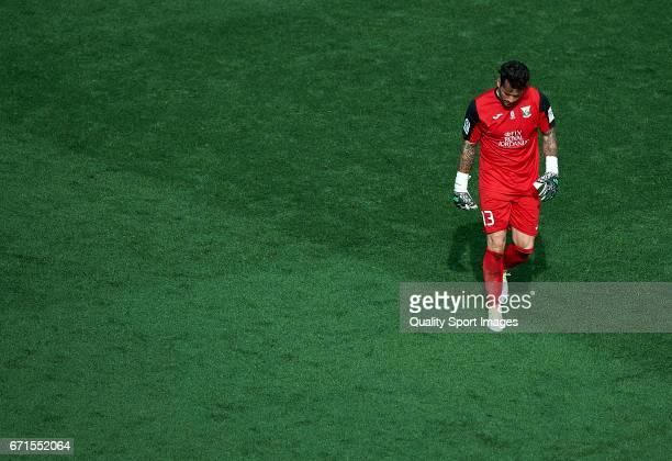 Iago Herrerin of Leganes reacts during the La Liga match between Villarreal CF and CD Leganes at Estadio de la Ceramica on April 22 2017 in...