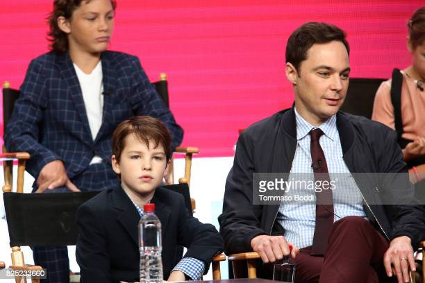 Iain Armitage and Jim Parsons attend the 2017 Summer TCA Tour CBS Panels at Various Locations on August 1 2017 in Los Angeles California