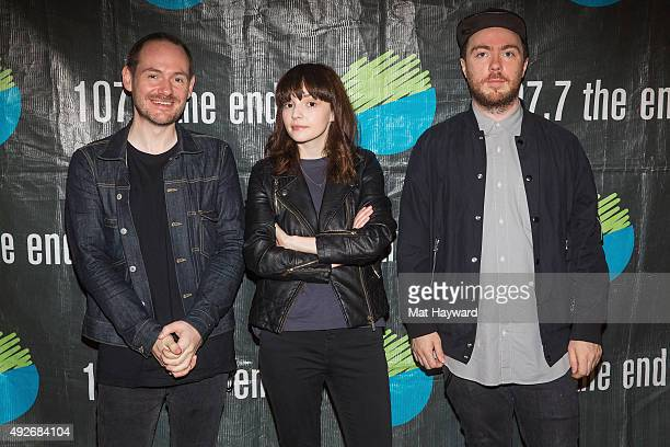 Iain Cook Lauren Mayberry and Martin Doherty of Chvrches pose for a photo after performing an EndSession hosted by 1077 The End at Fremont Abbey Arts...