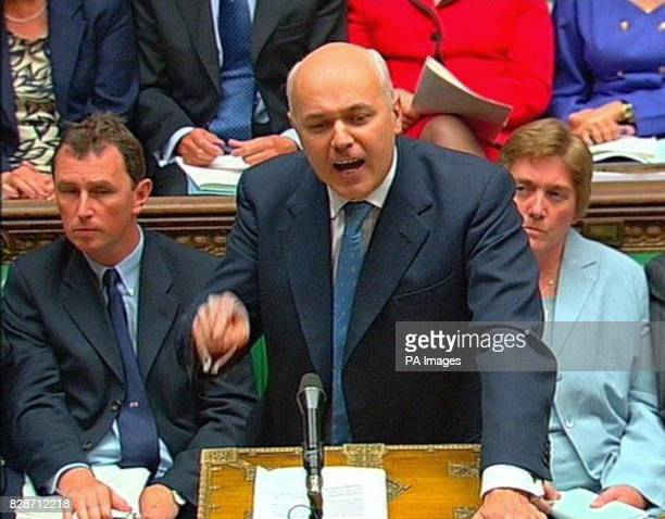 Iain Duncan Smith the leader of the Conservative party puts a point to Prime Minister Tony Blair in the House of Commons during his regular weekly...