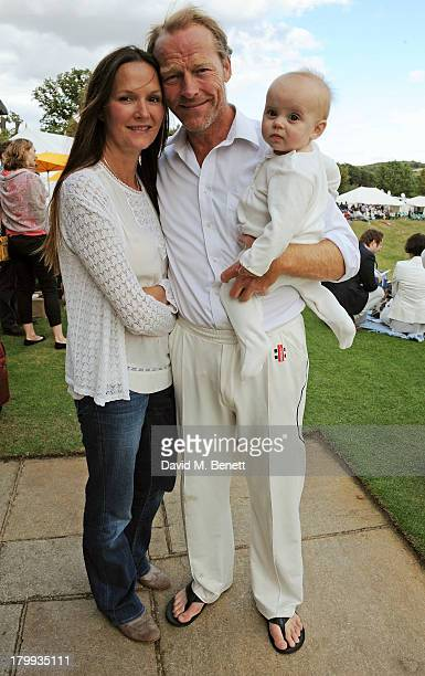 Iain Glen and Charlotte Emmerson attend the first ever 'Words For Wickets' festival featuring teams made up of authors and actors at The Wormsley...