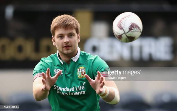 Iain Henderson catches the ball during the British Irish Lions captain's run held at the Forsyth Barr Stadium on June 12 2017 in Dunedin New Zealand