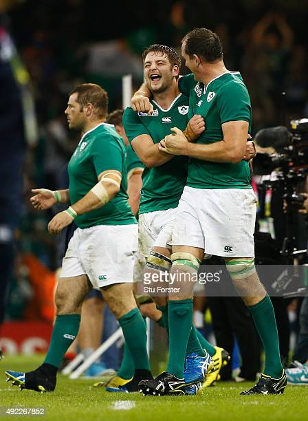 Iain Henderson of Ireland and Devin Toner of Ireland celebrate at the end of the 2015 Rugby World Cup Pool D match between France and Ireland at...