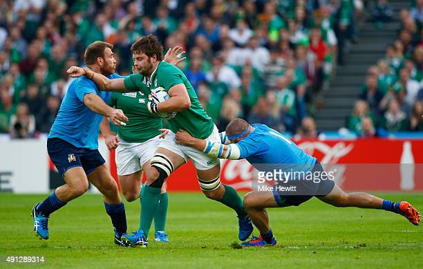 Iain Henderson of Ireland makes a break during the 2015 Rugby World Cup Pool D match between Ireland and Italy at the Olympic Stadium on October 4...